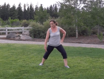 """Bethany teaching proper lateral lunging technique during """"Body Sculpting 2"""" which was filmed outdoors in Bend, Oregon."""