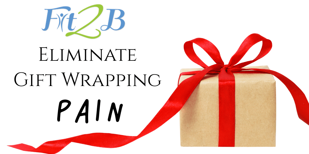 Eliminate Gift Wrapping Pain - Fit2B.com - Wrapping gifts during the holidays gets you down on the floor, but creative gift wrapping techniques can help you avoid soreness and get a short workout in with stretching if you click through to follow these tips! - #clicktoread #clicktolearn #fit #fitmama #fitmom #health #healthy #core #corestrengthening #fitness #alignment #posture #diastasisrectirecovery #christmas #giftwrapping #wrappinghacks #christmasshopping #shopping #christmasgifts #shopaholic