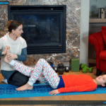 Kids Bedtime Stretches: Beth and her daughter demonstrated safe partner stretches to lengthen growing muscles and assist sleep – Fit2B Girls ecourse – Fit2B.com