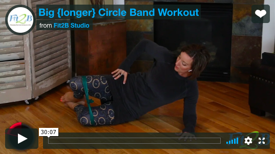Circle Band Workout - fit2b.com - Use a stretchy band to explore circular motions and tie a knot in the ends to make a circle of resistance! Fun workout! #theraband #stretchyband #exercise #homeworkout #homefitness #exercisevideo #fit2b