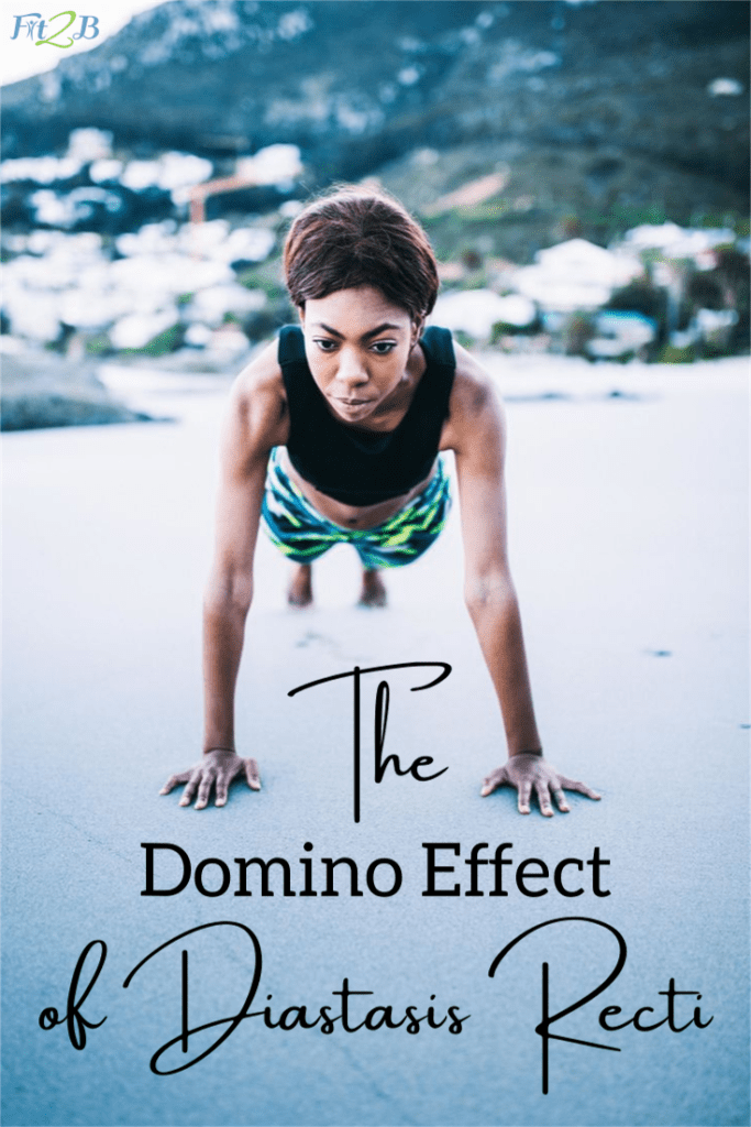 The Domino Effect of Diastasis Recti - Fit2B.com - Mama, tired of doing postpartum exercises & core workouts that lead to lower back pain? You might be a victim of the domino effect of core dysfunction like diastasis recti. Symptoms include ab gap, indigestion, poor posture. Watch & we can help you repair your health. #fit2b #diastasis #diastasisrecti #postpartum #homefitness #lowerbackpain #coredysfunction #coreworkout #postpartumbelly #postpartumexercises #diet #exercise #indigestion #poorposture #abgap #hope #health #healthy #healthylifestyle