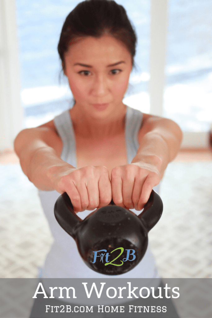Awesome Arm Workouts - Fit2B.com - Fit2B knows busy moms still want an arm workout that will get rid of the bat wings, but more importantly, make them stronger. Whether you are looking for an introduction to a dumbbell arm workout or weightless arm workout, we have you covered! We even guide you on how to use items within reach to tone up all while protecting your core from diastasis recti. #fit2b #diastasisrecti #homeworkout #homeexercise #busymoms #busymomworkout #armworkoutwomen #armworkout #kettlebells #dumbellarmworkout