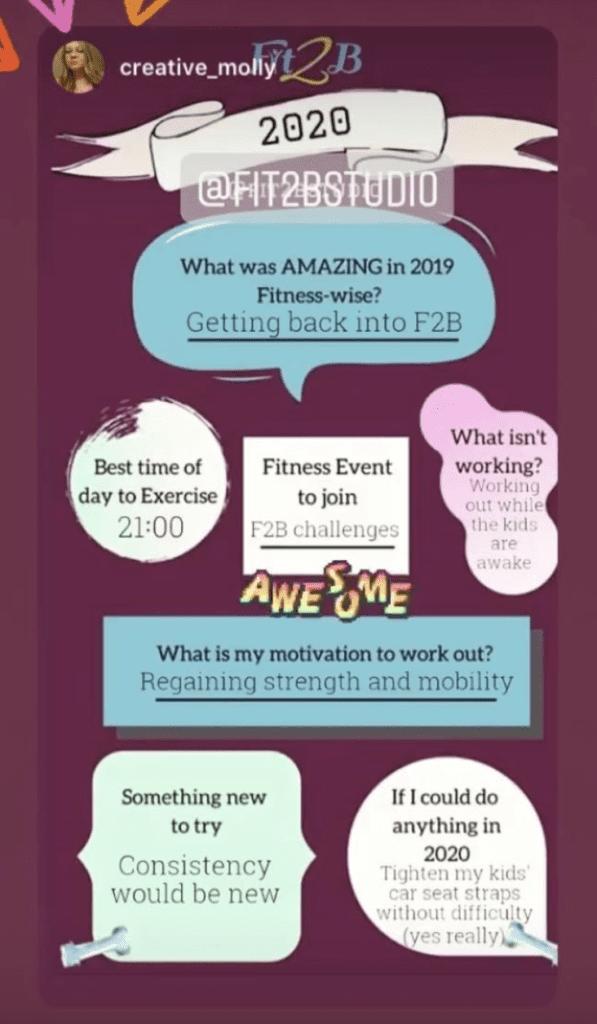 Instagram story shareable - Client goals - Fit2B.com