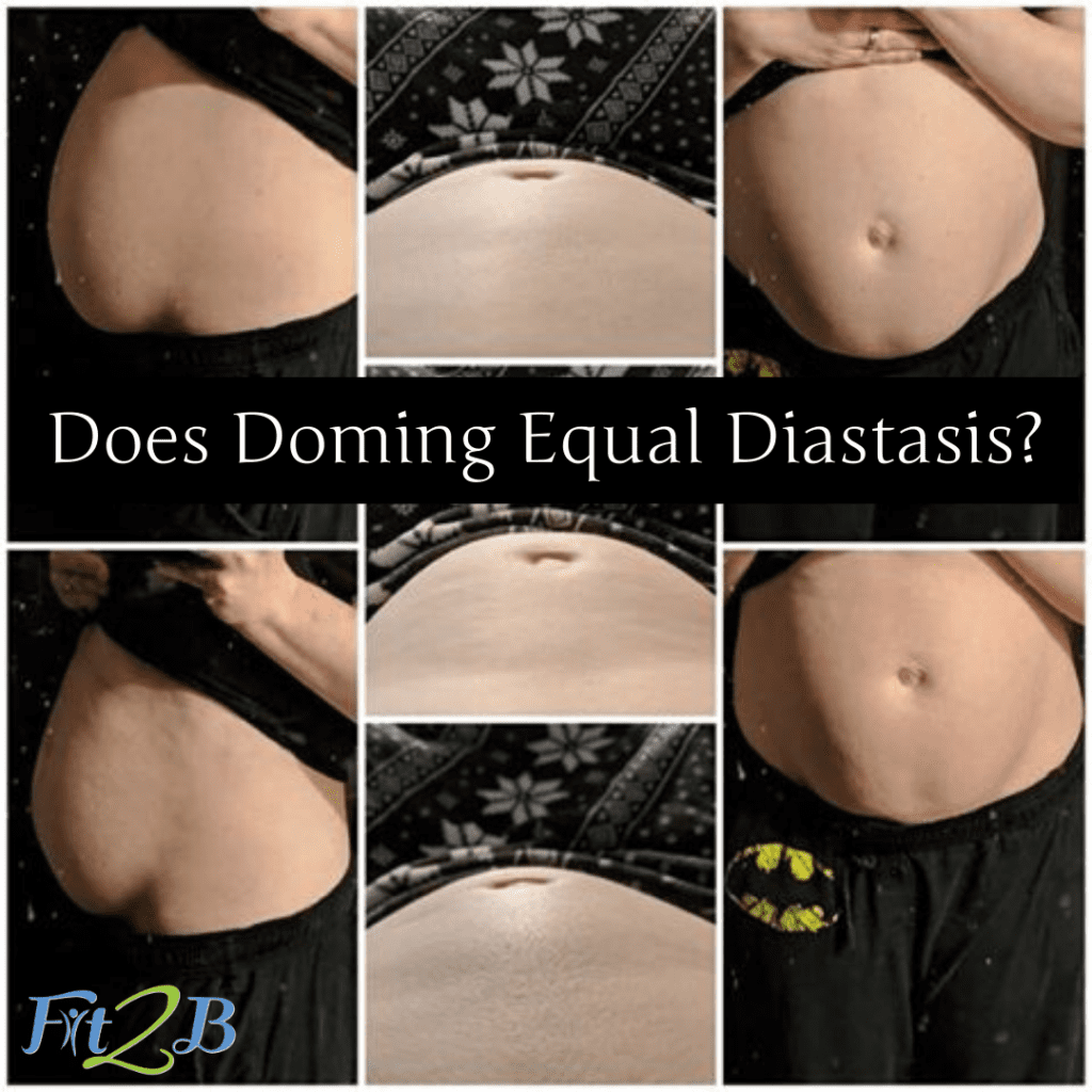 "Does Doming Equal Diastasis? - Fit2B.com - Fit2B knows core exercises have busy moms asking, ""Should I be worried that my belly is bulging?"" and ""Does doming equal diastasis recti?"" Click through and let us connect you to a free video and let us connect you with the answers and home exercises that you can trust will keep your core safe. #fit2b #diastasisrecti #workouts #exercises #fitness #homeexercises"