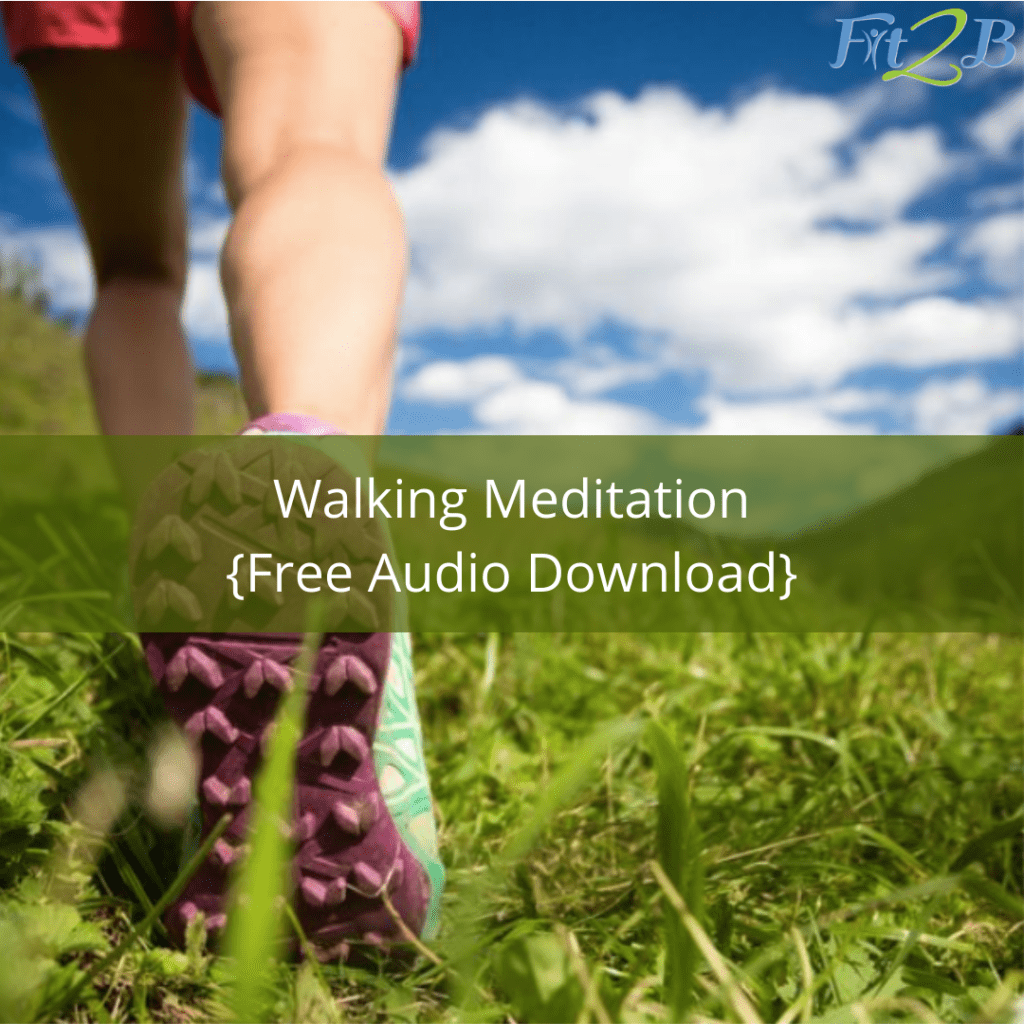 "FREE Walking Meditation {Audio Download} - Fit2B.com - Fit2B knows busy moms are wondering, ""How do I juggle working at home, homeschooling, freezer meals, and lots of stress during the quarantine?"" Click through and we will provide calm meditation for those days you can't get outside for a walk. Our unique approach to exercise may seem different. Each online home workout helps specifically with stress relief through exercise in a tummy safe manner that won't cause abdominal trauma like diastasic recti. #fit2b #workoutfromhome #homeworkout"