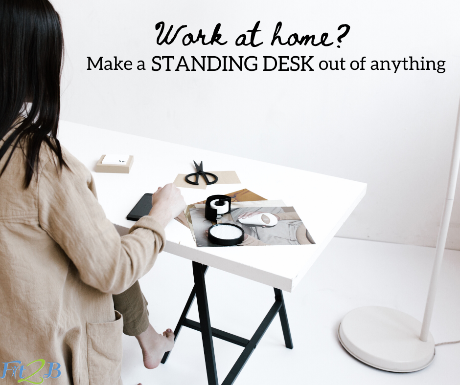 "Chic Upcycled Standing Work Station Ideas - Fit2B.com - Are you asking ""How do I create a home office?"" now that you or your spouse must work from home? Click through and let Fit2B encourage you to use what you have on hand to DIY a standing desk that will encourage fitness, movement, and exercise. #fit2b #homeoffice #home #workfromhome #standingdesk"