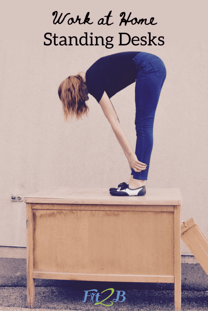 """Chic Upcycled Standing Work Station Ideas - Fit2B.com - Are you asking """"How do I create a home office?"""" now that you or your spouse must work from home? Click through and let Fit2B encourage you to use what you have on hand to DIY a standing desk that will encourage fitness, movement, and exercise. #fit2b #homeoffice #home #workfromhome #standingdesk"""