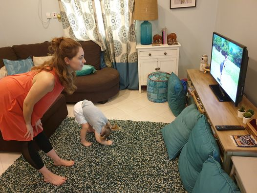 "Fit2B member and her toddler working out at home with our ""5-Minute Yoga In A Field In A Dress"" routine - fit2b.com"