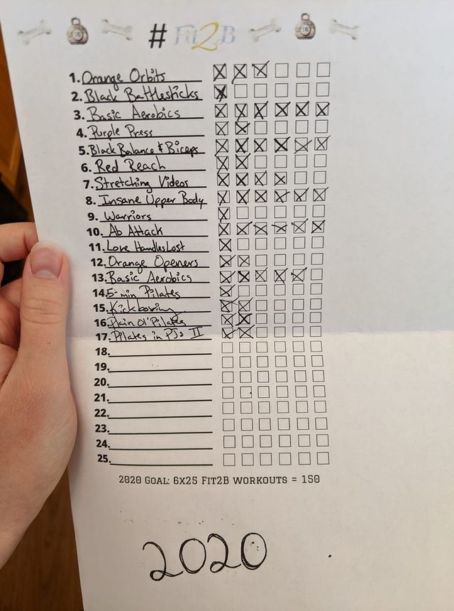 Real photo from a Fit2B member using our #Fit2B150 challenge printable to track her home workouts! -fit2b.com