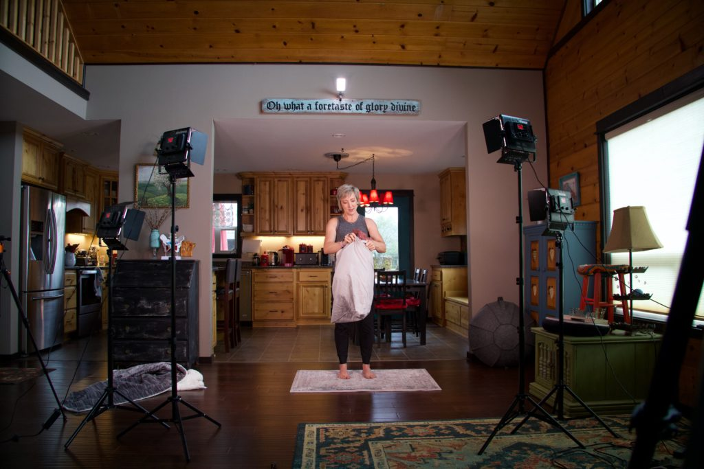 """Behind the scenes of filming """"DIY Bolster Tutorial"""" for Fit2B which provides workouts for Diastasis Recti"""