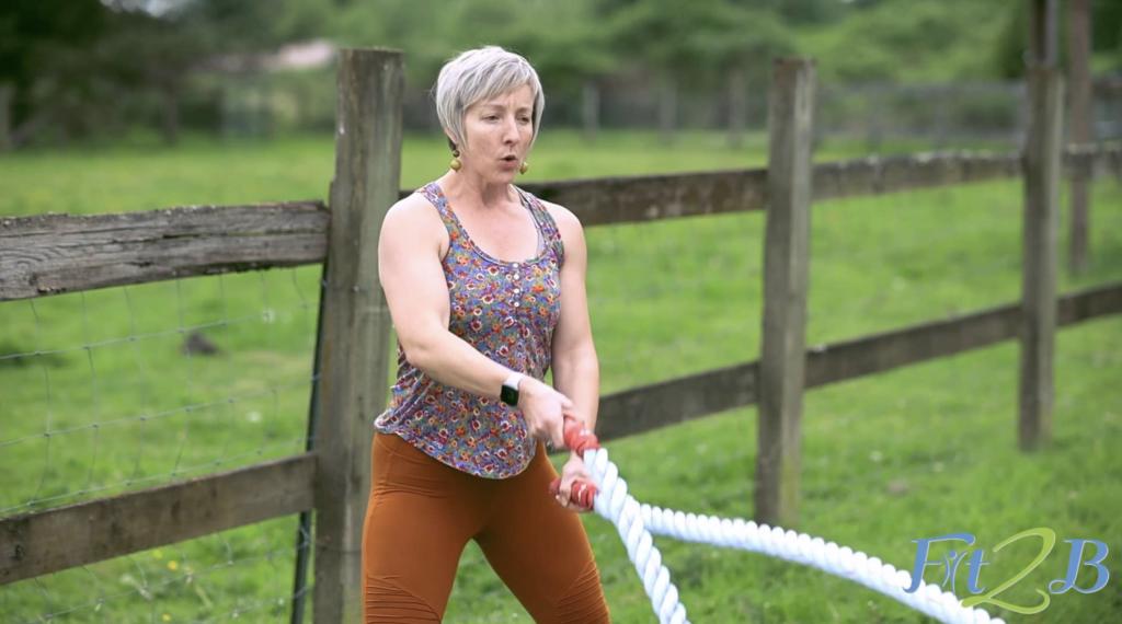 Battle Rope Blast - Standing Arm & Ab Exercises for Diastasis Recti - fit2b.com